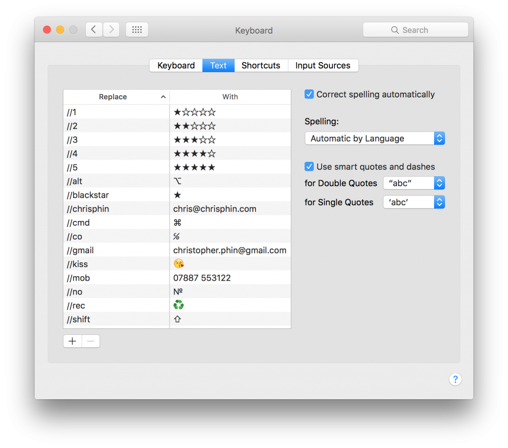 Text expander shortcuts