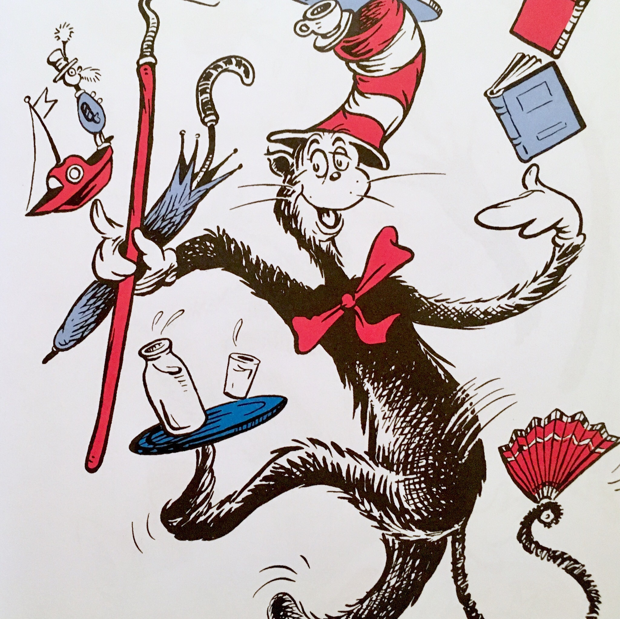 An illustration from The Cat in the Hat; the cat is holding a red fan in its tail which has a white zig-zag pattern on it