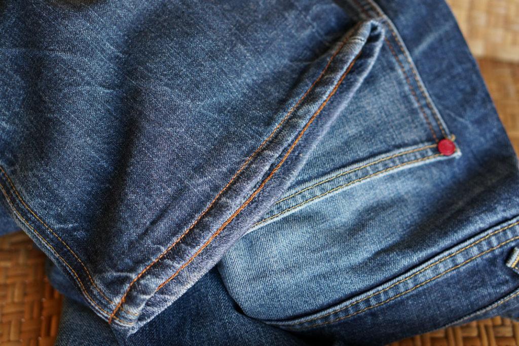 Repaired Hiut Denim jeans